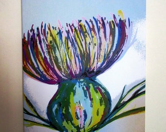 "Thistle. Large canvas print from an original painting by Suzanne Patterson. 22 x 16""  Ready to hang."