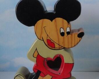 Vintage Folk Art Wood Mickey Mouse Bank.