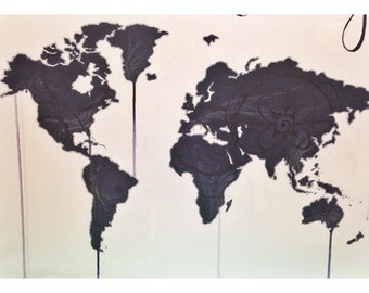 Made to order custom World Map painting