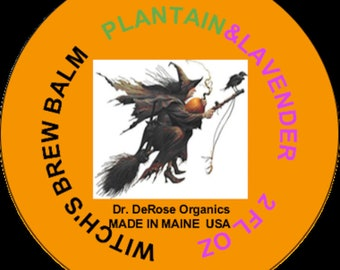Plantain  & Lavender Tin of Witch's Brew Organic Ingredients FREE SHIPPING
