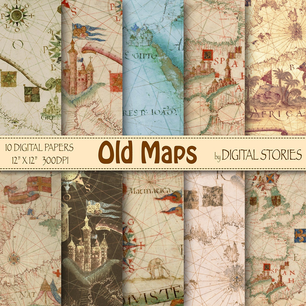 Vintage maps digital paper old maps with world zoom gumiabroncs Gallery