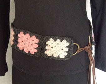 Crocheted belt pure wool, granny squares, boho, ethnic, hippi, accessories, ready to ship