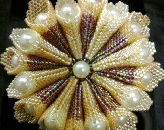 Gold/Beige starburst pattern with pearl beads brooch