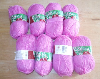 8 skeins SandnesGarn Sisu yarn - Wool blend - 175 yds ea ball - 50g - Norway