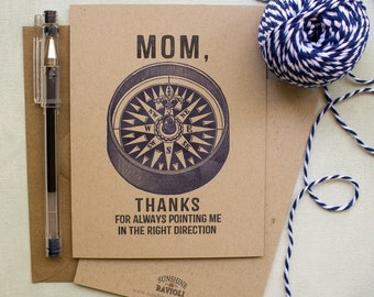 Mother's Day Card - Thanks Mom card - Outdoorsy Mom Compass Mothers Day Card - gifts for mom