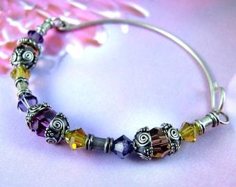 Pâques rose, violet et or bracelet, bracelet en argent massif cristal swarovski, bijoux rose, mauve, jaune de Pâque