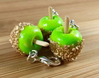 Polymer clay caramel apple jewelry
