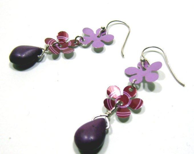 Purple Flower Earrings from Recycled Pop Cans Hippie Flower Power Throwback