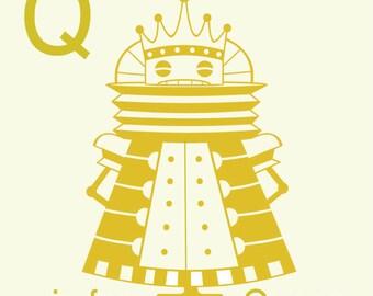 """Robot Alphabet Print - Q is for Queen 8"""" x 8"""" Art Print Robot - Art for Kids Room - Kid Decor - Robot Nursery Decor"""
