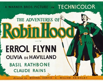 The adventures of Robin Hood 1938 Errol Flynn movie poster reprint 12.5x19 inches