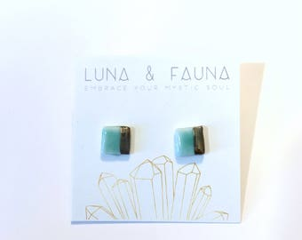 Gold and Green Earrings - Square - Porcelain Earrings - Gold