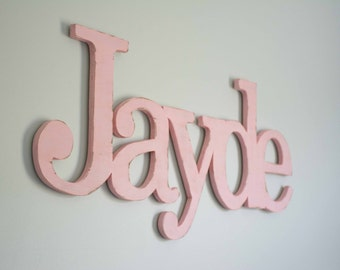 Extra Large Baby name, above crib, over the crib, large wooden name sign, Shabby chic Wooden letters for nursery, Wood Nursery Name