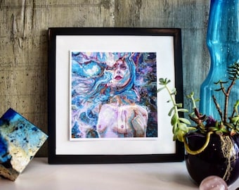 Framed Fine Art Print, Illustration, Woman, Face, Drawing, Water Color, Illustration, Night Sky Painting, Sky Art, Abstract Art, Blue Purple