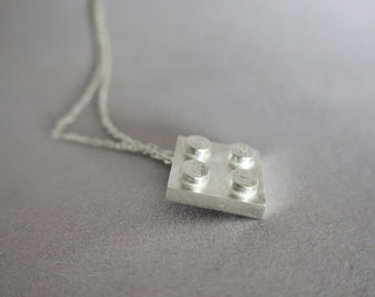 925 Sterling silver lego necklace -  Lego necklace - Lego block pendant - Lego jewelry - Silver lego pendant - Lego block pendant