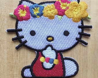 Hello Kitty Embroidered Iron on Patch - Flower crown cat design