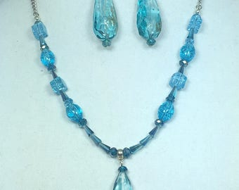 Turquoise Silver Teardrop Statement Necklace and Earrings Set - Jewelry Set