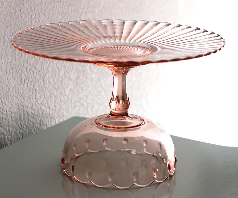 ?zoom & 14 Pink Cake Stand / Vintage Glass Cake Plate / Cake