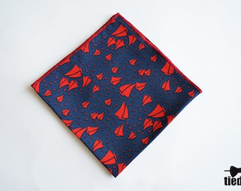 Blue pocket square with red boats,Handmade pocket square, Wedding pocket squere,Men's handkerchief,Red boats pocket square