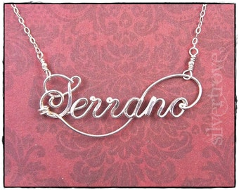 Sterling Silver Name Necklace Personalized Necklace Custom Name Wire Infinity Name Necklace Calligraphy Script Name Necklace Silver Name
