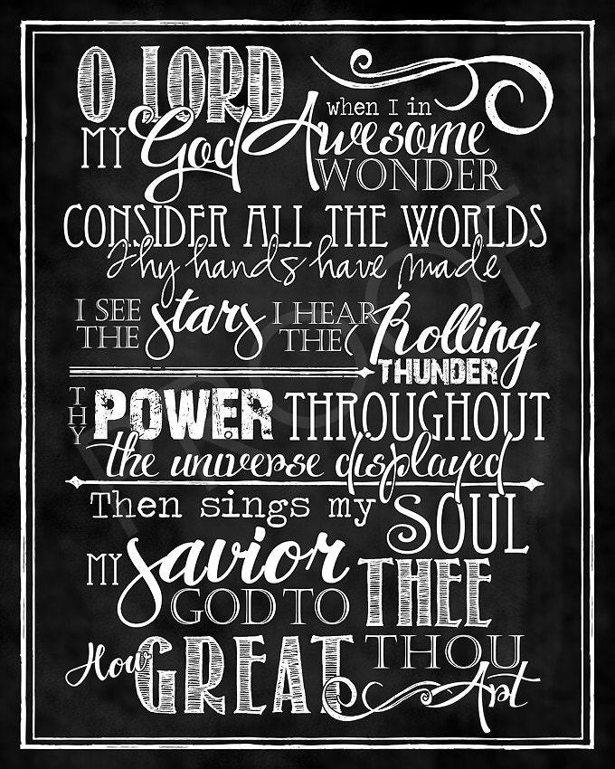 Art: How Great Thou Art Hymn chalkboard style