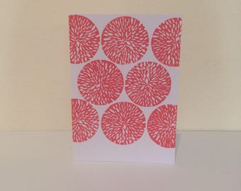 Block print card with flower print