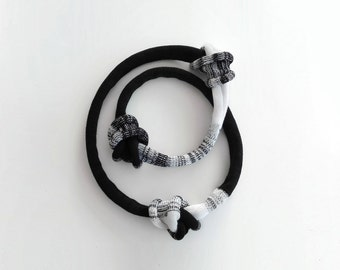 knot necklace, long statement necklace, black and white knitted necklace