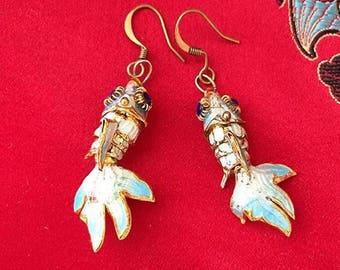 Cloisonne Enameled articulated angel fish earrings