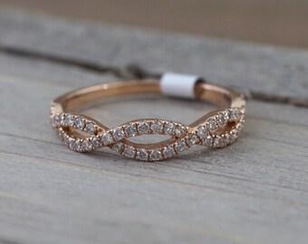 14k Rose Gold Infinity Twist Cross Intertwined Crossover Vine Vintage Diamond Engagement Band Brilliant Cut