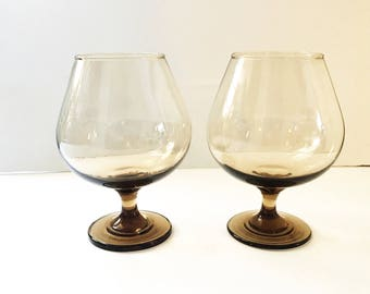 Vintage Brandy Snifter Balloon Shape Dark Amber Base and Stem with Lighter Bowl Pair of 22 oz Brandy Glasses