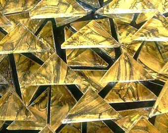 TRIANGLES BRIGHT GOLD Van Gogh Art Glass Mosaic Stained Glass Tile B16