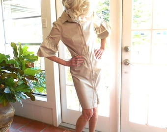 Vintage Bigio Collection dress khaki shirtdress preppy spring summer casual poufed sleeves: small