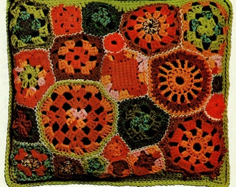 INSTANT DOWNLOAD PDF Vintage Crochet Pattern    Patchwork Granny Squares Cushion Pillow Cover  Retro