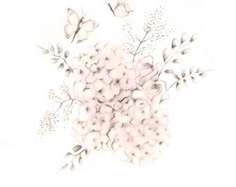 Pink flower drawing etsy flower nursery art baby girl nursery floral art print sweet blush pencil mightylinksfo Images