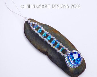m/w Swarovski Crystal Suncatcher 30mm Aurora Borealis MOZART TWIST with a Stack of AB Octagons Strand Rainbow Maker Lilli Heart Designs