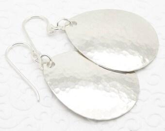 Medium Large Hammered Teardrop Earrings in Sterling Silver