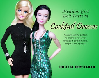 """Easy Cocktail Dress Clothes Pattern for Medium 11.5"""" Dolls: Barbie, Princess, Fashion Royalty"""
