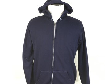 70's poly full zip up hoodie navy blue unisex