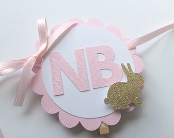 Pink & Gold 1st Year Photo Banner. Bunny Theme. Photo Display. Photo Banner with Clips. Scallop Photo Banner. Some Bunny is One