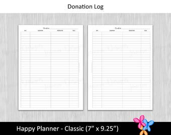 HP Classic: Donation Log • Budget Binder Printable Page Insert for Happy Planner Classic sized Disc / Ring Bound Planners • INSTANT DOWNLOAD