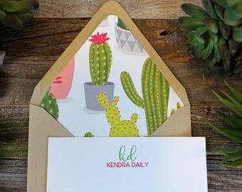 Sweet Succulents Personalized Stationery Set