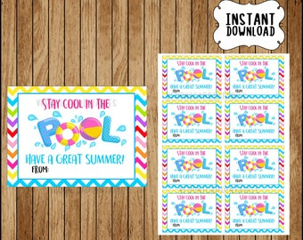 stay cool in the pool have a great summer! Favor Tag, End of school, Teacher Gift, Classroom, diy, printable INSTANT DOWNLOAD