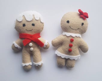 Set of Felted Gingerbread Man & Woman | Gingerbread Ornaments | Christmas Tree Decorations | Holiday Decor | Red Christmas | Tree Ornaments