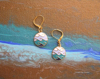 Catch the Wave Beach Summer earrings, beachcomber, gold plated fashion jewellery green blue white navy gift idea 10, GBT340