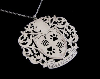 Sterling Silver Cat Necklace - Coat of Arms Crest Shield Armour Medallion Pendant - CATS OR DEATH