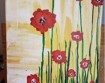 Red Flowers - abstract zen art