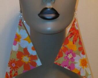 Attractive Multi Color Floral Print Triangle Fabric Earrings, Women Earrings, Fashion Fabric Earring, Large Earrings, Big Earrings