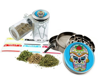 "Sugar Skull - 2.5"" Zinc Alloy Grinder & 75ml Locking Top Glass Jar Combo Gift Set Item # G021615-041"