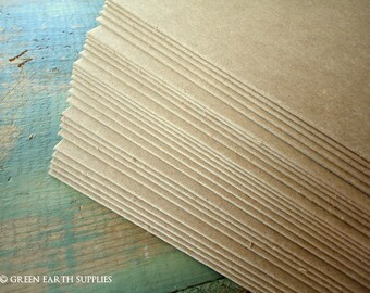 "25 thick 50pt chipboard sheets: 8.5 x 11 kraft brown chipboard recycled 8.5 x 11"" (216x279mm), Heavy weight thick chipboard .050"" (1 mm)"