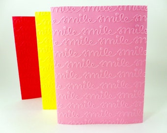 Smile Blank Cards, Embossed Cards Smile, Smile Embossed Cards, DIY Cards Smile, Script Smile Cards, Dentist Cards, A2 Blank Card Set of 6