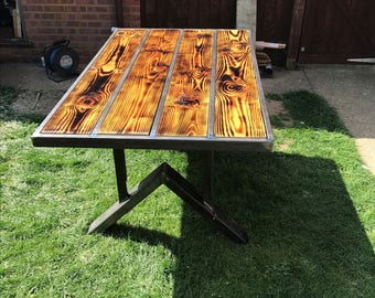 Wood topped metal frame patio table